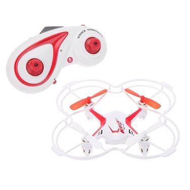 Quadrone AW-RCQ-VC Voice Controlled 4 Channel 2.4 GHz RC Quadcopter Drone, White/Red