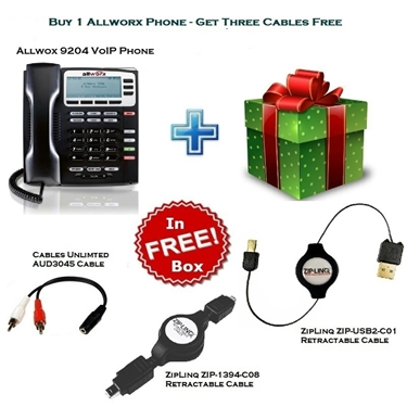 Allworx 9204 IP Phone with 2 ZipLinq Retractable Cable and AUD3045 Cable