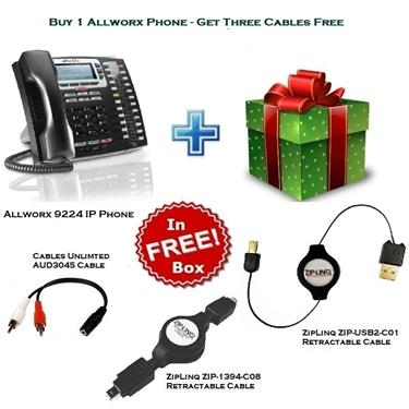 Allworx 9224 VoIP Phone With 2 ZipLinq Retractable Cable And AUD3045 Cable
