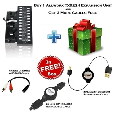 Allworx TX9224 Expansion Unit with 2 ZipLinq Retractable Cable and AUD3045 Cable