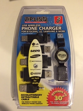 ZIP-LINQ ZIP-CELL-M02A Cable,Retractable,Phone Charger,LG Mobile,Sanyo,Samsung,Kyocera,Motorola iDen,2.5'