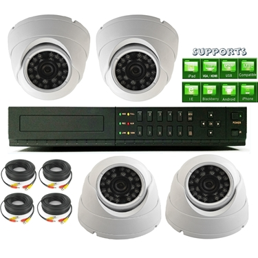 Nexhi 16CH STANDALONE 960H DVR Security System With 720P HD-CVI Dome Camera And Cables - White