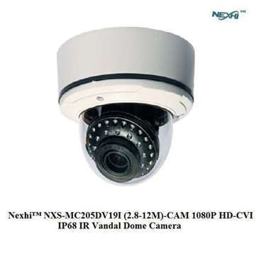 Nexhi NXS-MC205DV19I-CAM 1080P HD-CVI IP68 IR Vandal Dome Camera with 2.8-12mm Lens, 30IR & DC12V - White