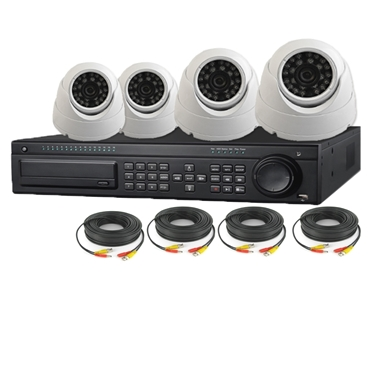 Nexhi 16CH HD-SDI 1080P DVR Security System with 720P HD-CVI Dome Camera and Cables - White