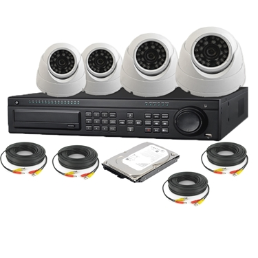 Nexhi 16CH HD-SDI 1080P DVR Security System with 720P HD-CVI Dome Camera, Cable and 500 GB HDD - White