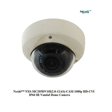 Nexhi NXS-MC205DV10I-AS-CAM 1080p HD-CVI IP66 IR Vandal Dome Camera with 2.8-12mm Motorized Lens, 30IR & DC12V - White