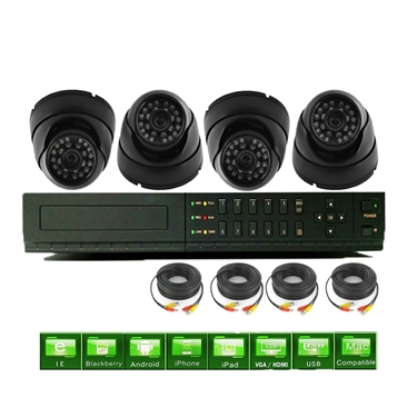 Nexhi 16CH STANDALONE 960H DVR Security System With 720P HD-CVI Dome Camera And Cables - Black
