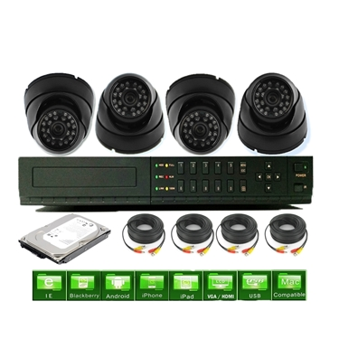 Nexhi 16CH STANDALONE 960H DVR Security System With 720P HD-CVI Dome Camera, Cable And 1 TB HDD - Black