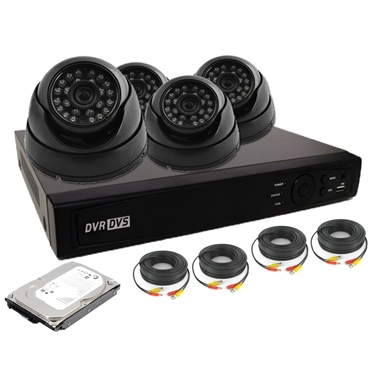 Nexhi 16CH HD-TVI - ANALOG DVR Security System With 720P HD-CVI Dome Camera, Cable And 500 GB HDD - Black