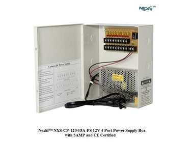 Nexhi NXS-CP-1204/5A-PS 12V 4 Port Power Supply Box with 5AMP and CE Certified- For CCTV Camera, PTZ, IR Illuminators, Video Process,Access Control