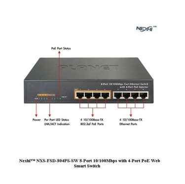 Nexhi NXS-FSD-804PS-SW 8-Port 10/100Mbps with 4-Port PoE Web Smart Switch