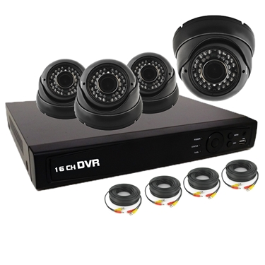 Nexhi 16CH HD-TVI - ANALOG DVR Security System with 720P HD-CVI IR Dome Cameras - Black and Cables