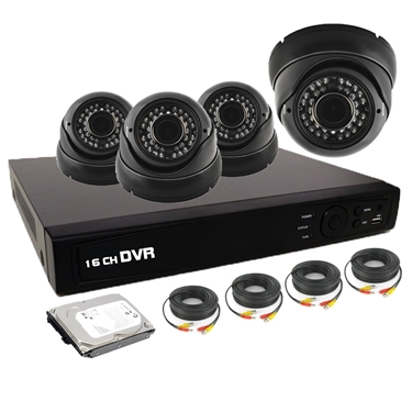 Nexhi 16CH HD-TVI - ANALOG DVR Security System with 720P HD-CVI IR Dome Cameras - Black, Cables and 500 GB HDD