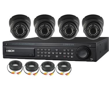 Nexhi 16CH HD-SDI 1080P DVR Security System with 720P HD-CVI IR Dome Cameras - Black and Cables