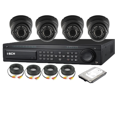 Nexhi 16CH HD-SDI 1080P DVR Security System with 720P HD-CVI IR Dome Cameras - Black, Cables and 500 GB HDD