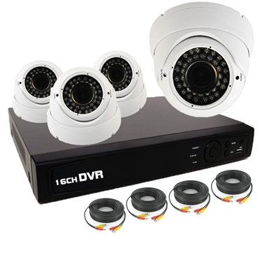 Nexhi 16CH HD-TVI - ANALOG DVR Security System with 720P HD-CVI IR Dome Cameras - White and Cables