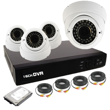 Nexhi 16CH HD-TVI - ANALOG DVR Security System with 720P HD-CVI IR Dome Cameras - White, Cables and 1 TB HDD