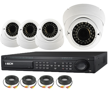 Nexhi 16CH HD-SDI 1080P DVR Security System with 720P HD-CVI IR Dome Cameras - White and Cables