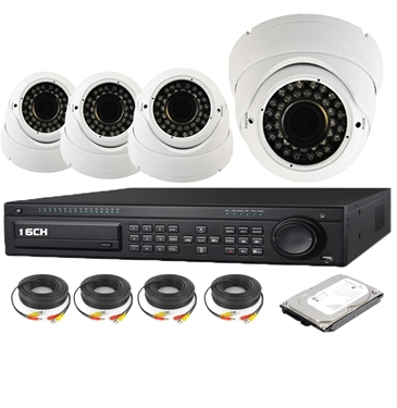 Nexhi 16CH HD-SDI 1080P DVR Security System with 720P HD-CVI IR Dome Cameras - White, Cables and 1TB HDD