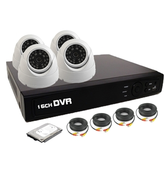 Nexhi 16CH HD-TVI - ANALOG DVR Security System with 720P HD-CVI Dome Cameras, Cables and 500GB HDD - White