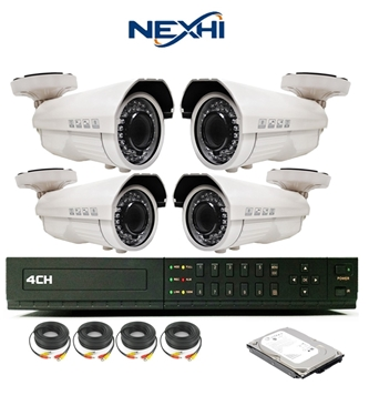 Nexhi 4CH STANDALONE 960H DVR Security System With 4 X 700TVL Sony IR Bullet Cameras And Cables