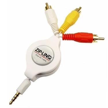 ZipLINQ ZIP-AUDIO-IP3 Retractable IPod 3.5mm To RCA Audio/ Video Cable