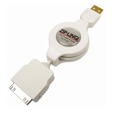 ZipLINQ ZIP-DATA-A01 Retractable iPod/ iPhone USB Charge and Synch Cable - White