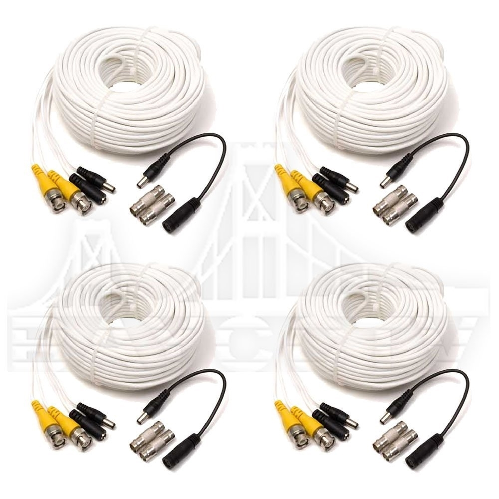 Q See Qs100b 100ft Bnc Male Cable With 2 Female Connectors