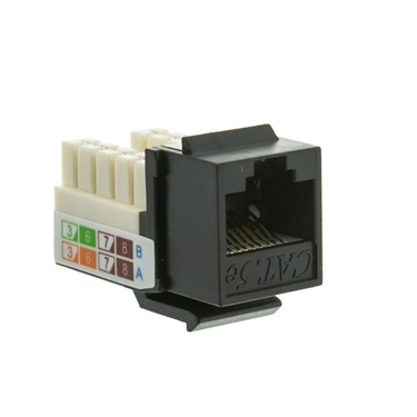 CableWholesale 310-120BK RJ45 Female To 110 Punch Down Cat5e Keystone Jack - Black