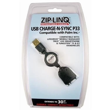 ZipLINQ ZIP-DATA-P33-B Retract Treo 650 Chrg Sync Cable Bulk