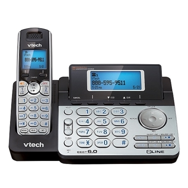 VTech DS6151 DECT 6.0 2-Line Expandable Cordless Phone with Digital Answering System
