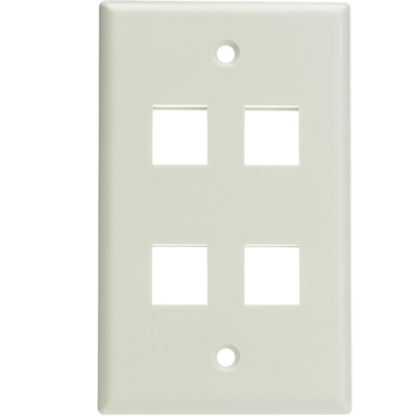 CableWholesale 301-4K-W 4 Hole Single Gang Keystone Wall Plate - White