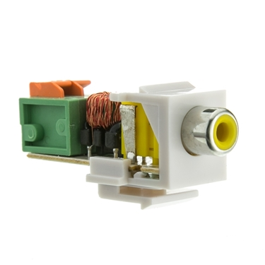 CableWholesale 324-410YL RCA Balun Keystone White Face Yellow RCA Female