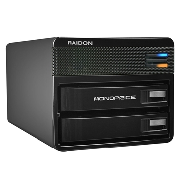 Monoprice 110202 2-Bay USB 3.0 DAS Button Tray RAID Enclosure - Black