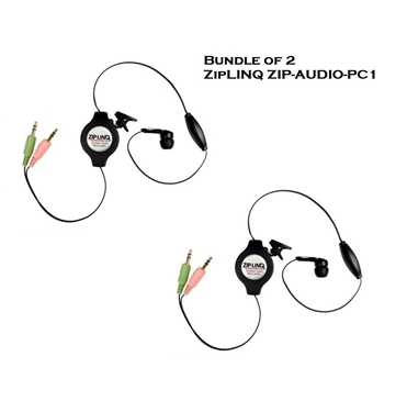 Bundle of 2 - ZipLINQ ZIP-AUDIO-PC1 Retractable Mono VoIP Cable - Black