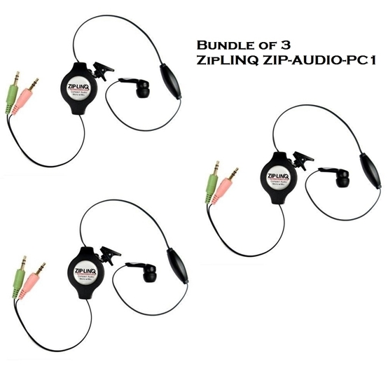 bundle of 3 - ziplinq zip-audio-pc1 retractable mono voip cable