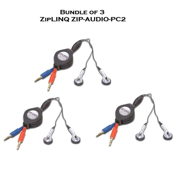 Bundle of 3 - ZipLINQ ZIP-AUDIO-PC2 Retractable Stereo VoIP Cable - Black