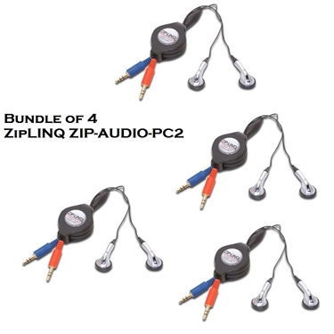 Bundle of 4 - ZipLINQ ZIP-AUDIO-PC2 Retractable Stereo VoIP Cable - Black