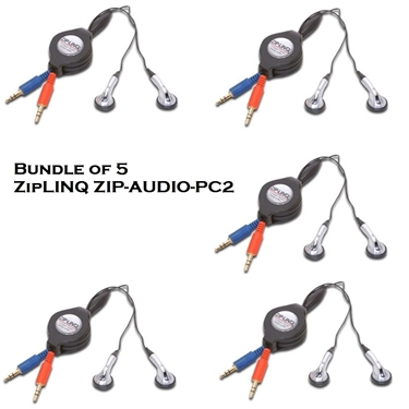 Bundle of 5 - ZipLINQ ZIP-AUDIO-PC2 Retractable Stereo VoIP Cable - Black