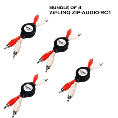 Bundle of 4 - ZipLINQ ZIP-AUDIO-RC1 Retractable Stereo RCA Cable
