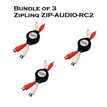 Bundle of 3 - Ziplinq ZIP-AUDIO-RC2 Stereo RCA M/F Retractable Extension Cable