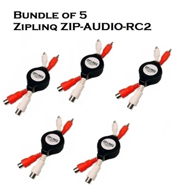 Bundle of 5 - Ziplinq ZIP-AUDIO-RC2 Stereo RCA M/F Retractable Extension Cable