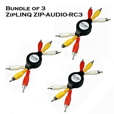 Bundle of 3 - ZipLINQ ZIP-AUDIO-RC3 Retractable Audio / Video 3 RCA Cable