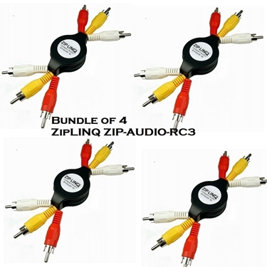Bundle of 4 - ZipLINQ ZIP-AUDIO-RC3 Retractable Audio / Video 3 RCA Cable