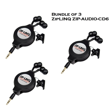 Bundle of 3 - ZipLINQ ZIP-AUDIO-CD6 Retractable 2.5mm Earbuds - Black