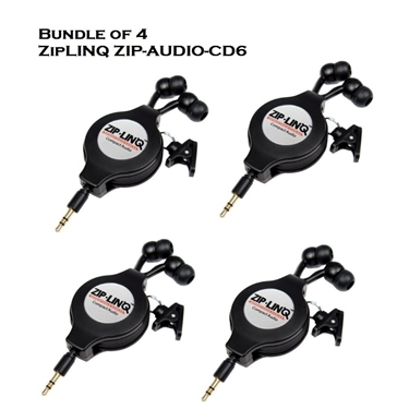 Bundle of 4 - ZipLINQ ZIP-AUDIO-CD6 Retractable 2.5mm Earbuds - Black