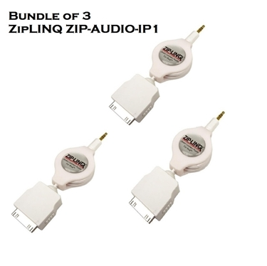 Bundle of 3 - ZipLINQ ZIP-AUDIO-IP1 3.5mm To IPod Connector Cable - White