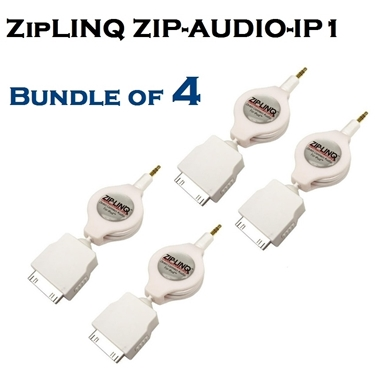 Bundle of 4 - ZipLINQ ZIP-AUDIO-IP1 3.5mm To IPod Connector Cable - White