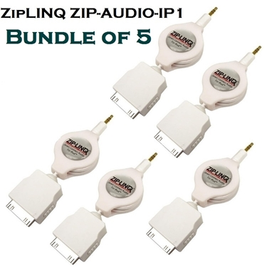 Bundle of 5 - ZipLINQ ZIP-AUDIO-IP1 3.5mm To IPod Connector Cable - White