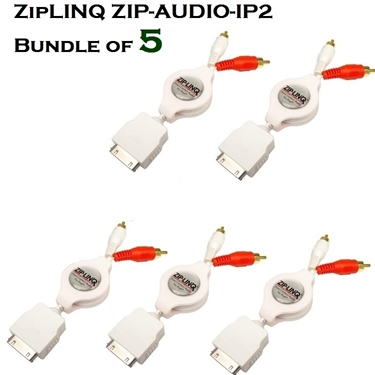 Bundle of 5 - ZipLINQ ZIP-AUDIO-IP2 Retractable 30-Pin Dock To 2 RCA Audio Cable